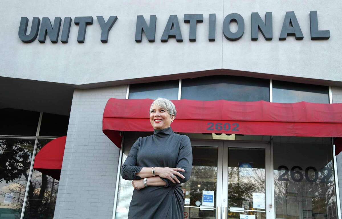 Unity National Bank president Laurie Vignaud at the location at 2602 Blodgett Street, Tuesday, December 22, 2020, in Houston. Unity said it will accelerate lending in under-served communities thanks to a multi-million-dollar investment by JPMorgan Chase.