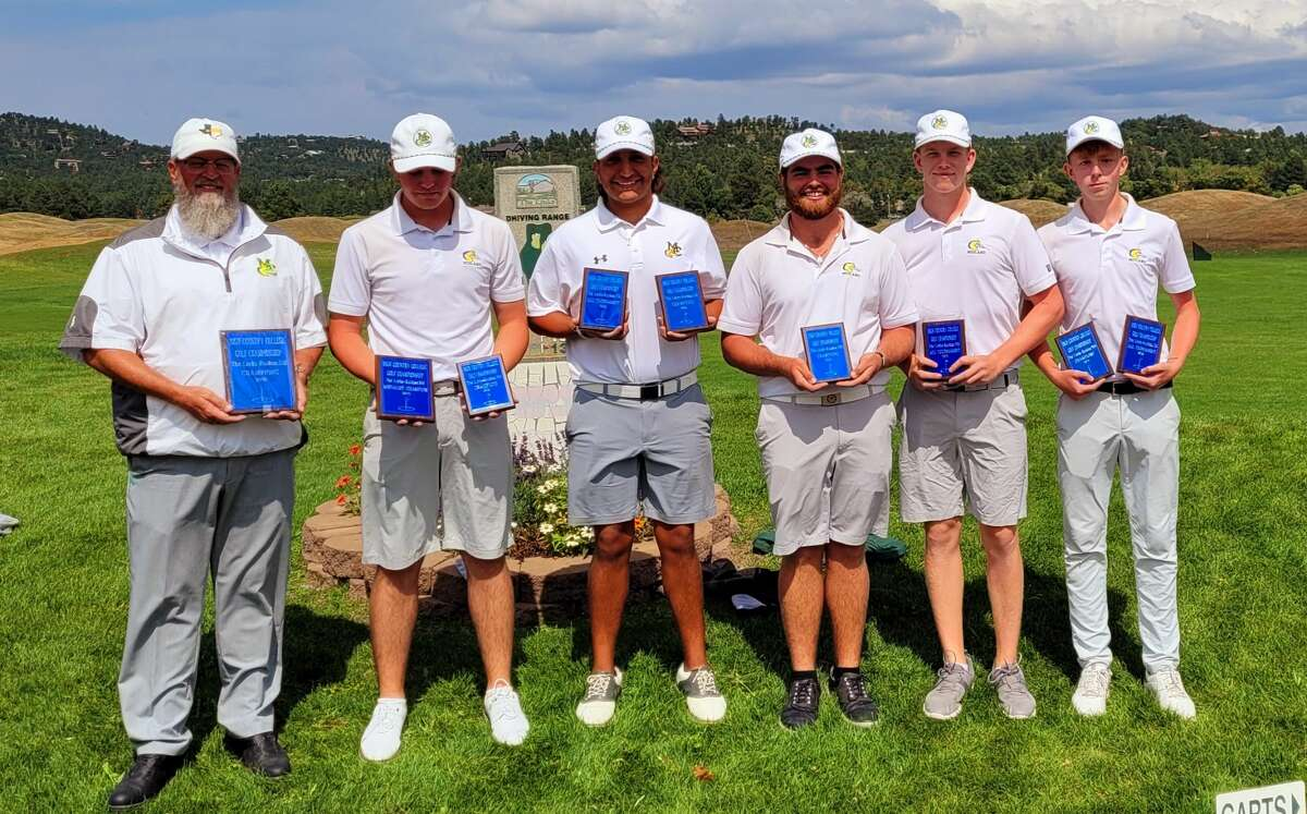 The Midland College A team, from left to right, head coach Walt Williams, Samual McKenzie, Aston Castillo, Davis Seybert, Gregor Graham and Alfie Robinson pose after winning the High Country Shootout in Ruidoso, N.M.