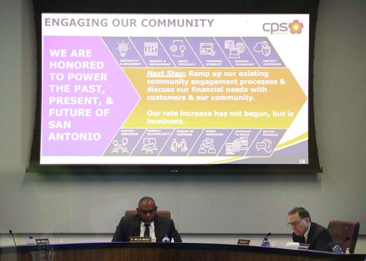 CPS Energy officials meet for the utility's monthly board meeting where a possible rate hike was discussed on Monday, Sept. 27, 2021. A small group of residents objecting to the increase voiced their concerns outside of the CPS Energy headquarters before the meeting.