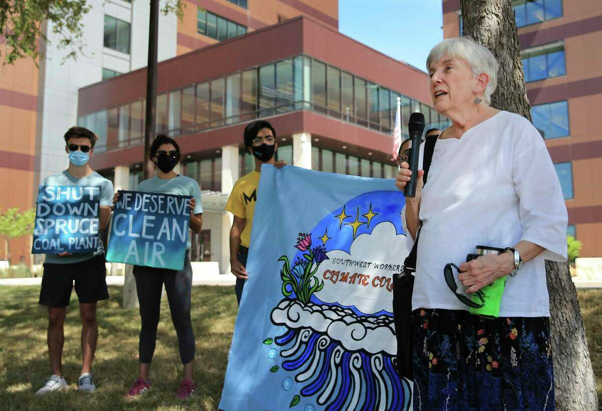 Meredith McGuire (right), a Trinity University professor emeritus and a co-chair for the local Sierra Club, speaks about the issues of a possible rate hike by CPS Energy as officials meet for the utility's monthly board meeting on Monday, Sept. 27, 2021.