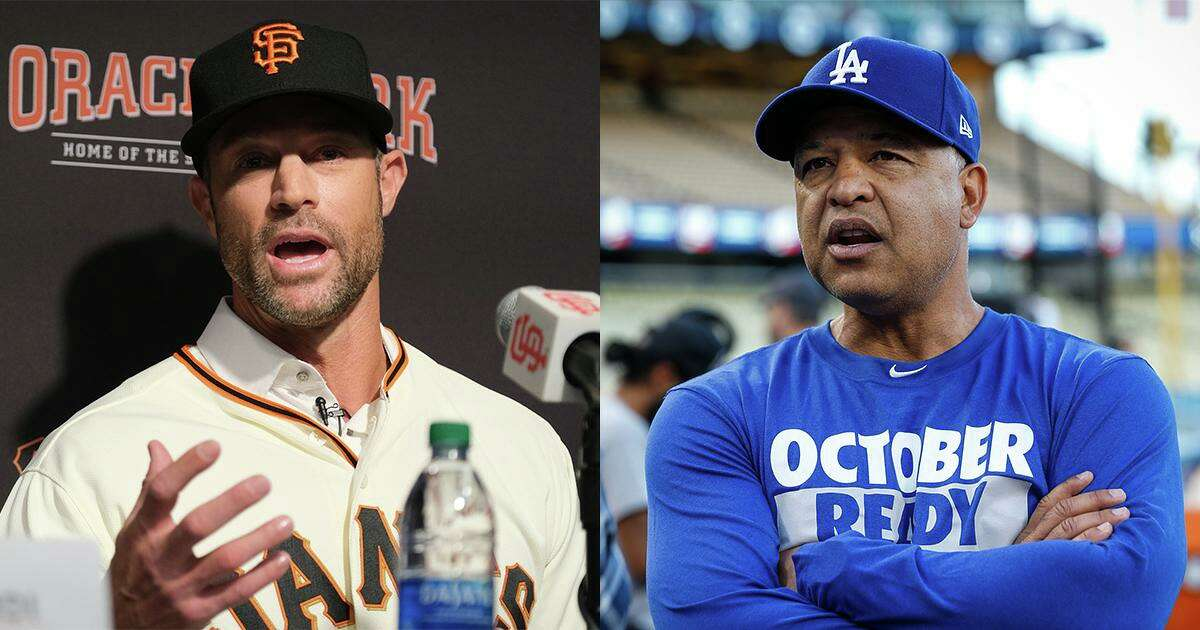 The Giants and manager Gabe Kapler, left, enter the final week of the regular season leading the Dodgers and manager Dave Roberts by two games in the National League West.