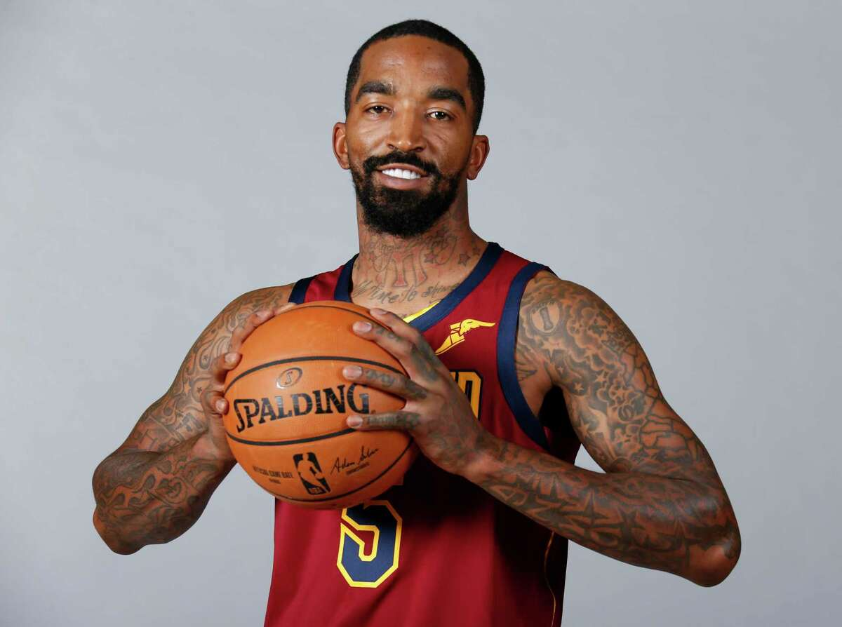 Cleveland Cavaliers' J.R. Smith (5) poses for a portrait during the NBA basketball team's media day, Monday, Sept. 24, 2018, in Independence, Ohio. (AP Photo/Ron Schwane)