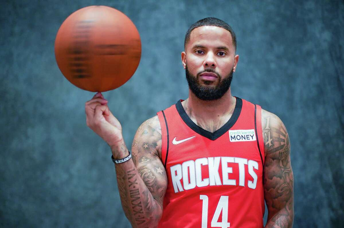 Houston Rockets point guard D.J. Augustin (14) during the team's media day in Houston on Monday, Sept. 27, 2021.