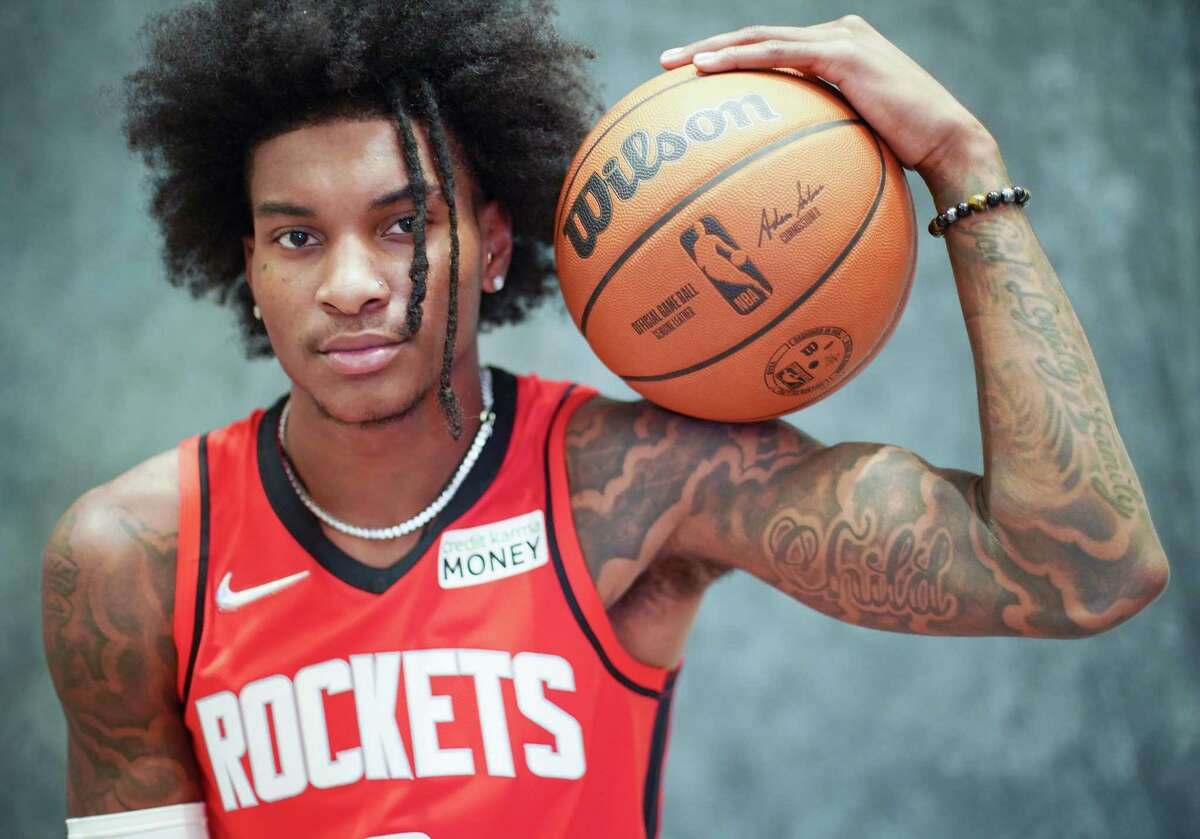 Houston Rockets shooting guard Kevin Porter Jr (3) during the team's media day in Houston on Monday, Sept. 27, 2021.