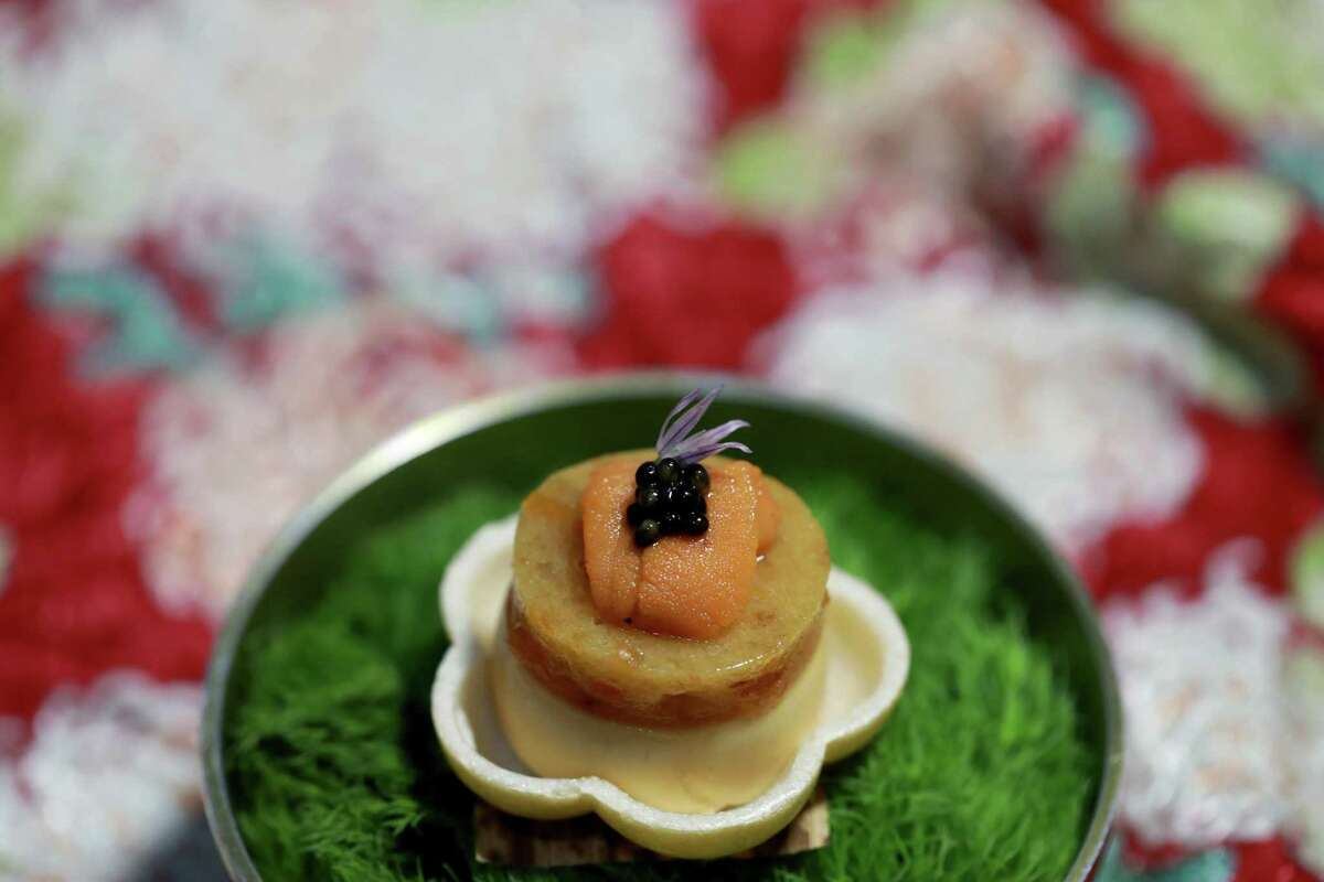 The uni pate at the Shota features a Japanese monaka wafer shell, uni with yuzu persimmon marmalade and caviar. The San Francisco omakase restaurant earned a Michelin star.