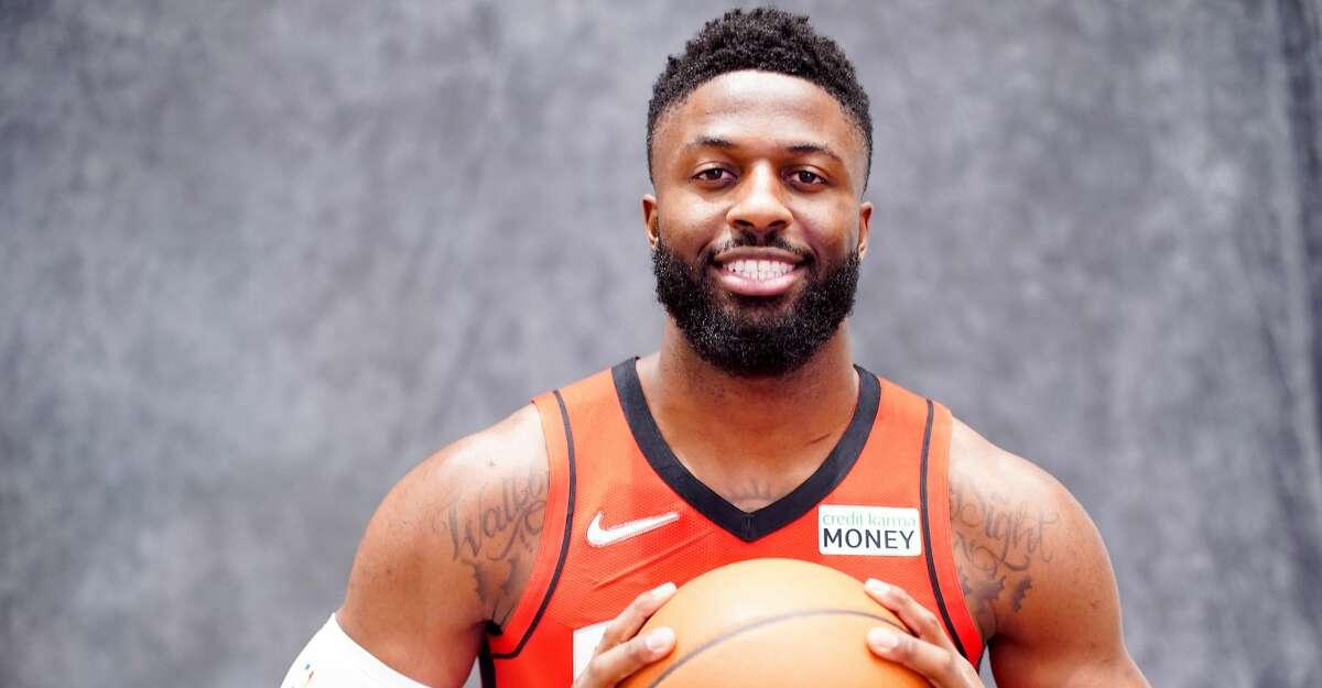 Houston Rockets forward David Nwaba (2) during the team's media day in Houston on Monday, Sept. 27, 2021.