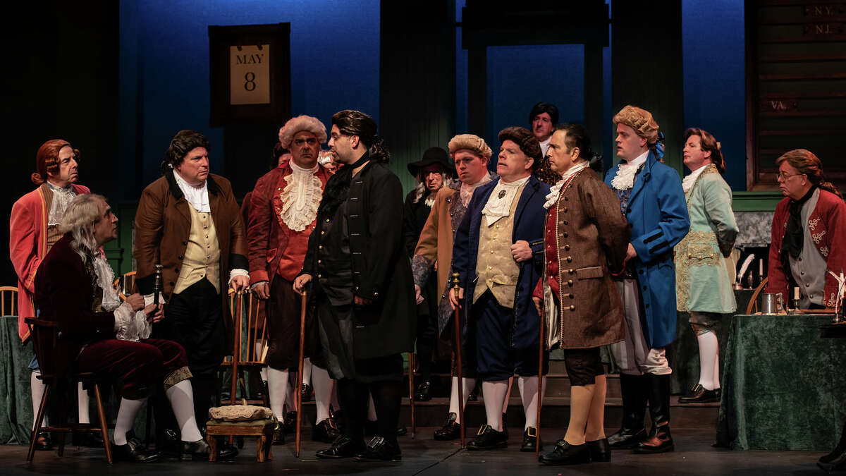 Members of the Continental Congress convene in Curtain Call's production of 1776 the musical playing in The Kweskin Theatre, Stamford thru Oct. 9.
