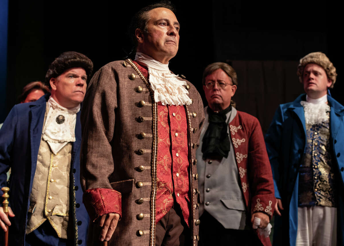 In the foreground, Lou Ursone as John Adams being barraged by congressional colleagues to shut up in 1776 the musical playing in The Kweskin Theatre, Stamford thru October 9. Background left to right are Bruce Crilly, Thomas Kramer and Ben McCormack.