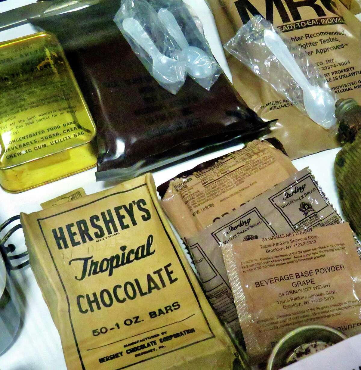 Food rations from various wars displayed at the West Haven Veterans Museum.