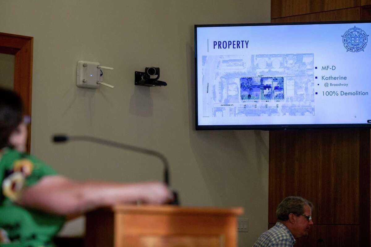 The proposed demolition footprint on Katherine Court is shown Monday during an Alamo Heights City Council meeting.
