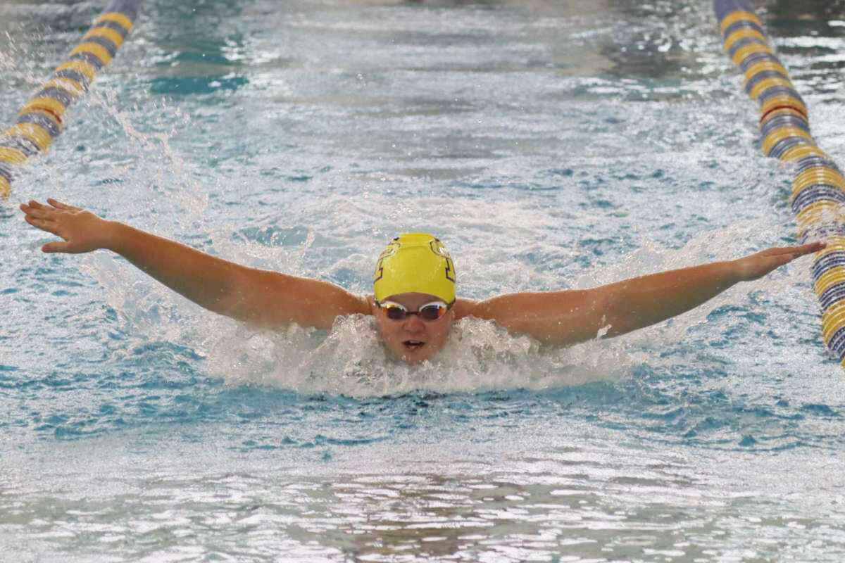 Annika Arendt swims the butterfly during the 200-yard medley relay on Sept. 23.