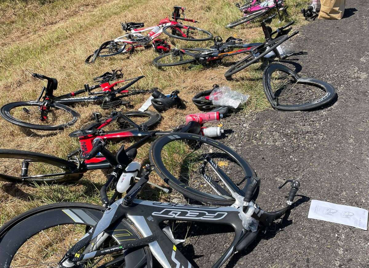 All that remained after the wreck were mangled bicycles.