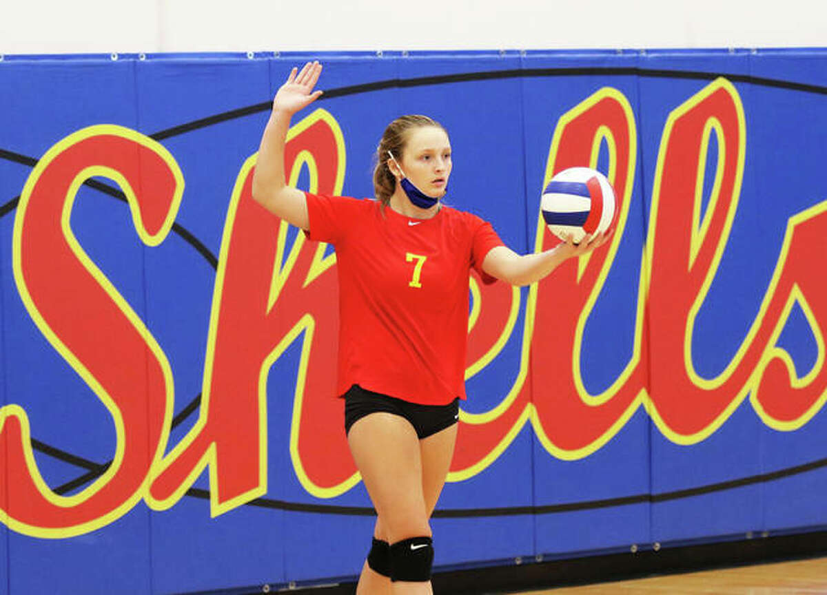 Roxana's Peyton Petit, shown in a match during the Roxana Tourney at Roxana Junior High on Aug. 24, served up five aces from 10 points Monday night in the Shells' win over Southwestern at Milazzo Gym in Roxana.