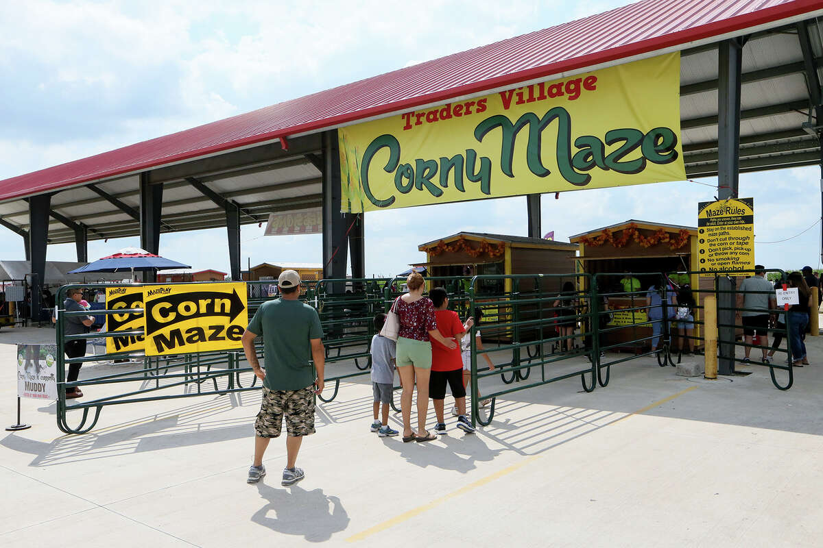 Visitors enter the Traders Village Corny Maze, the only one of its kind within the San Antonio City limits, on Sunday, Oct. 14, 2018.