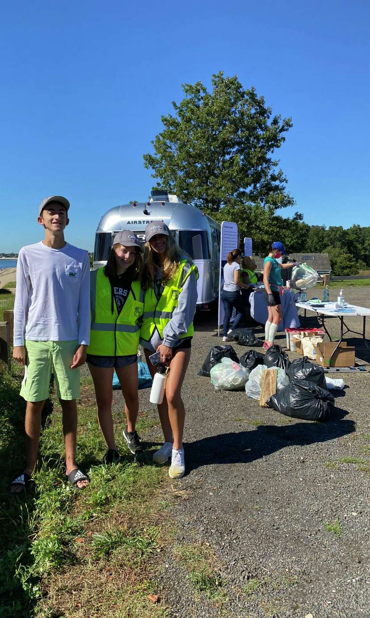 Volunteers cleaned 2.5 miles of beach at Sherwood Island State Park in Westport on Sept. 25, 2021 as part of a cleanup organized by Save Our Sound.