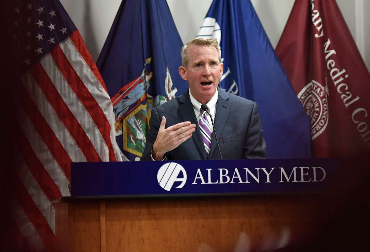 Dr. Dennis McKenna, president and CEO of Albany Medical Center, addresses the impact of a hospital staffing shortage and COVID vaccine requirements on Tuesday, Sept. 28, 2021, during a press conference at Albany Med in Albany N.Y.