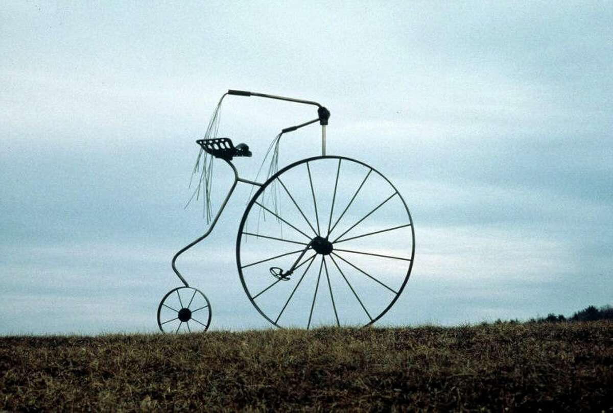 Welded steel cycle by Mary Pat Wager