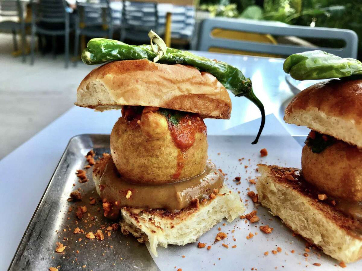 Vada Pao (potato croquette with three chutneys and crushed peanuts on a house made Portuguese sweet bun) at Da Gama