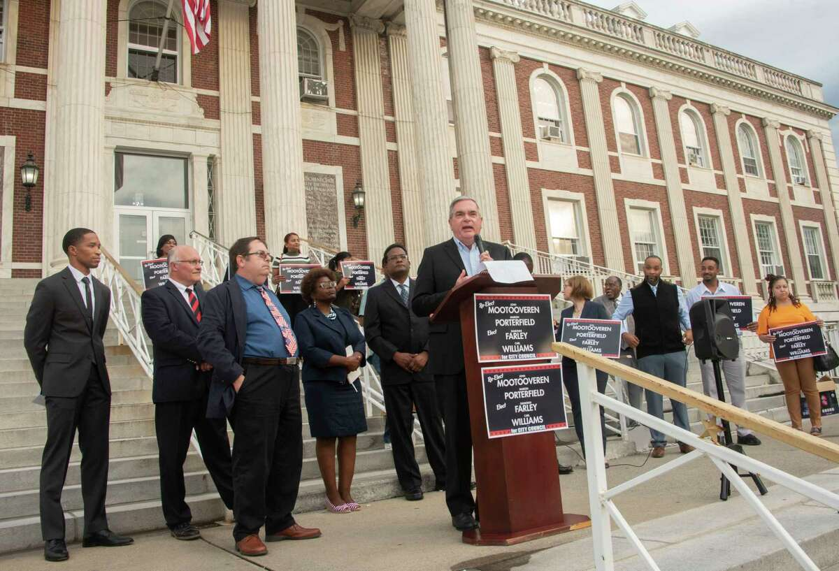 Mayor Gary McCarthy speaks as candidates for City Council hold a campaign rally serving as the rollout for the final sprint towards November's general election outside Schenectady City Hall on Monday, Sept. 27, 2021 in Schenectady, N.Y.