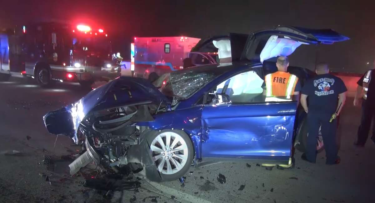 The aftermath of the Feb. 27 crash along the Eastex Freeway. Luckily, everyone survived.