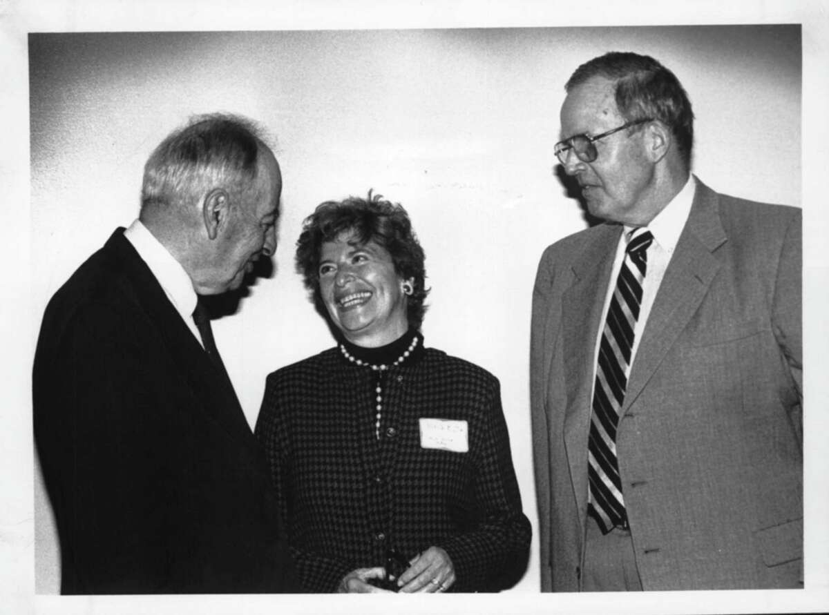 Empire State Plaza, Albany, New York- meeting room 6 - Dr. Arthur S. Flemming, Rena Button, President of Board of Directors for Senior Services Centers in Albany area, and Arnold Cogswell, President & Treasurer of Albany Hospital for Incurables. November 04, 1987 (Arnold LeFevre/Times Union Archive)