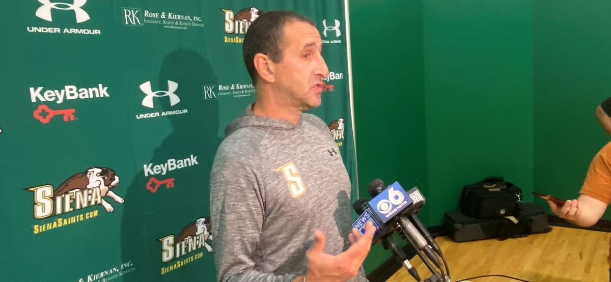 Siena women's basketball coach Jim Jabir speaks to the media before the first official day of practice on Sept. 28, 2021. (Mark Singelais/Times Union)