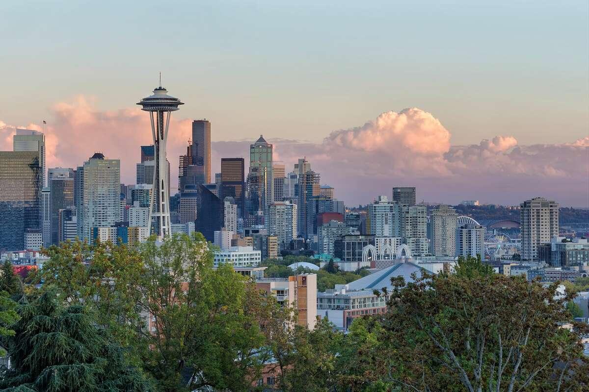 Seattle Washington city downtown skyline during sunset