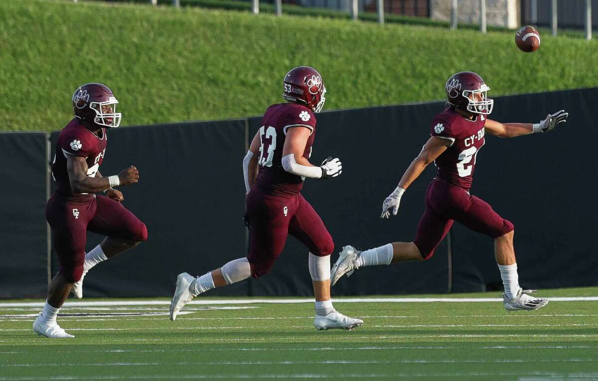 Cy-Fair defensive back Ryan Warth (24) reacts after intercepting a pass from Cypress Park quarterback Edward Dixon during the second quarter of a high school football game at Pridgeon Stadium, Saturday, Sept. 4, 2021, in Cypress.