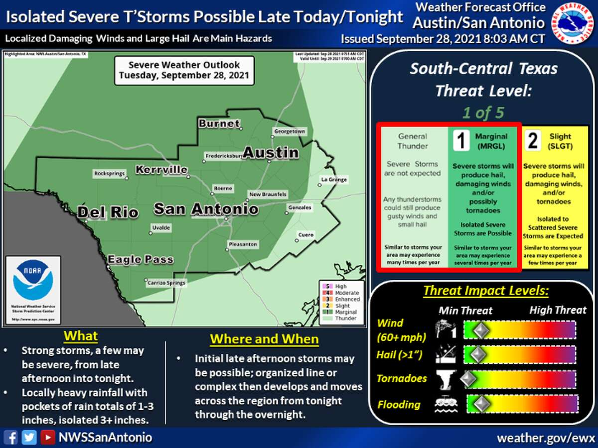 San Antonio is at a marginal risk for severe storms over the next couple of days.