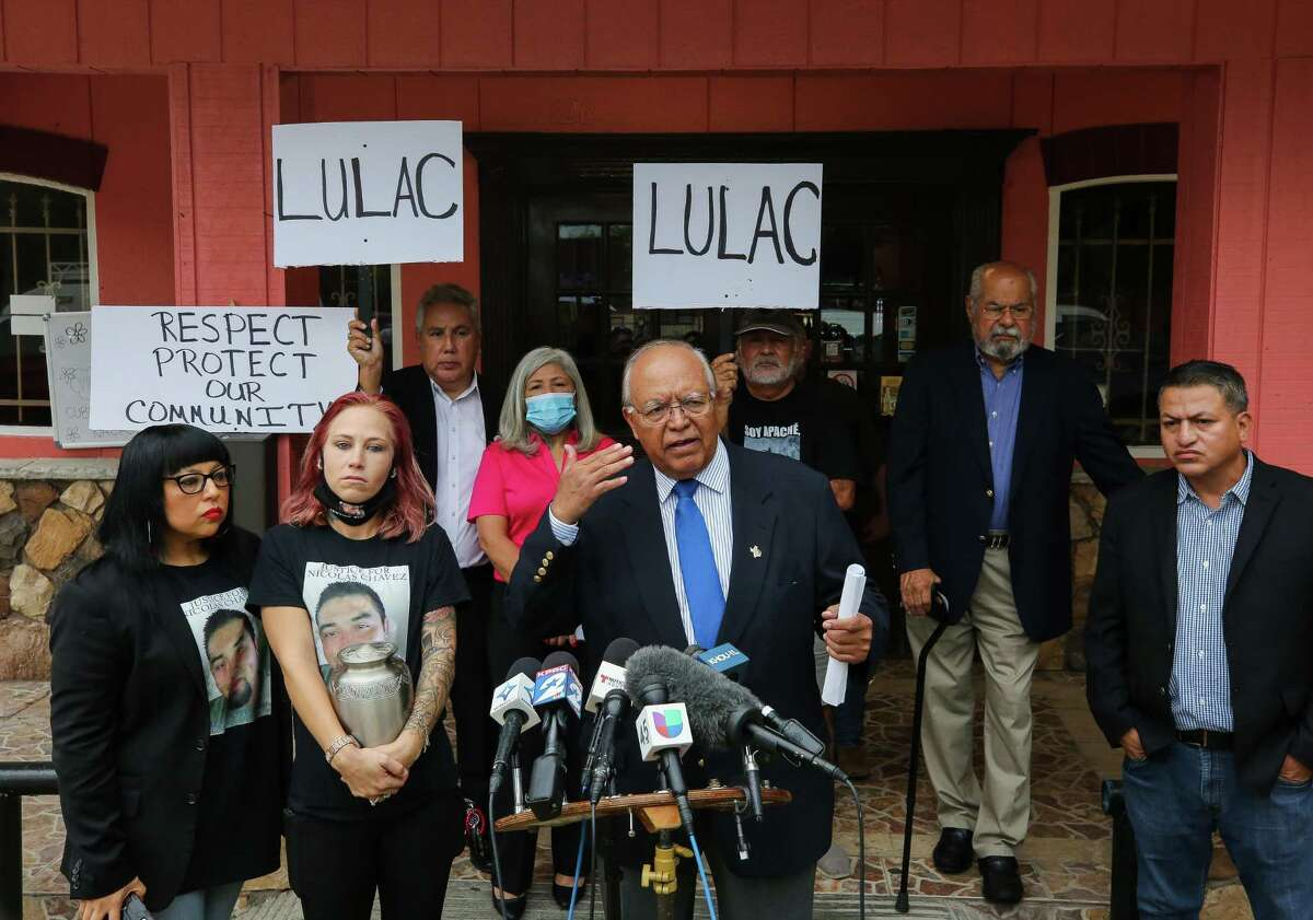 LULAC District 18 director Agustín Pinedo, center, talked to reporters during a press conference at which he expressed outrage at learning that the Houston Police Department officers fired in the killing of Nicolas Chavez were no-billed by a grand jury, on Tuesday, Sept. 28, 2021, in Houston.