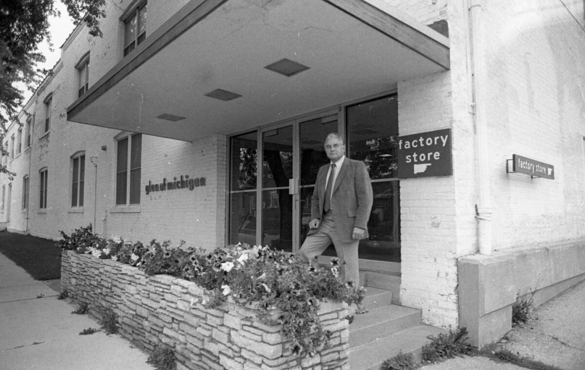 """Harless Feagins, president of Glen of Michigan, stands outside his factory this morning after announcing with """"deep regret"""" that Glen of Michigan tomorrow will end its 32-year-old manufacturing business in Manistee. Glen of Michigan employs approximately 130 people. The photo was published in the News Advocate on Sept. 29, 1981. (Manistee County Historical Museum photo)"""