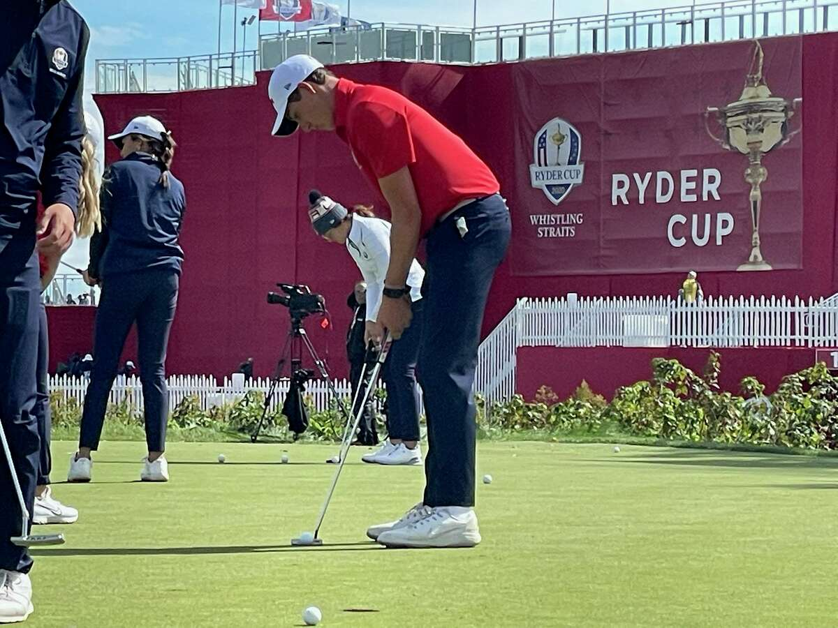 Milford's Ben James putts on the practice green at Whistling Straits last week. James qualified for the U.S. Junior Ryder Cup team.