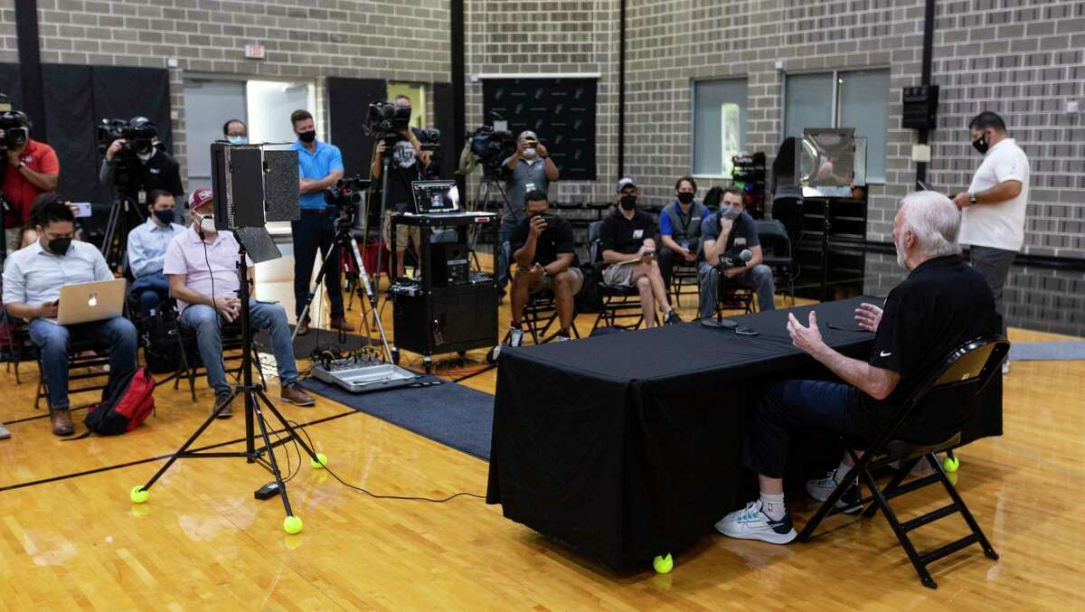 Spurs coach Gregg Popovich talks to reporters on Monday, Sept. 27, 2021 at the team's practice facility during media day.