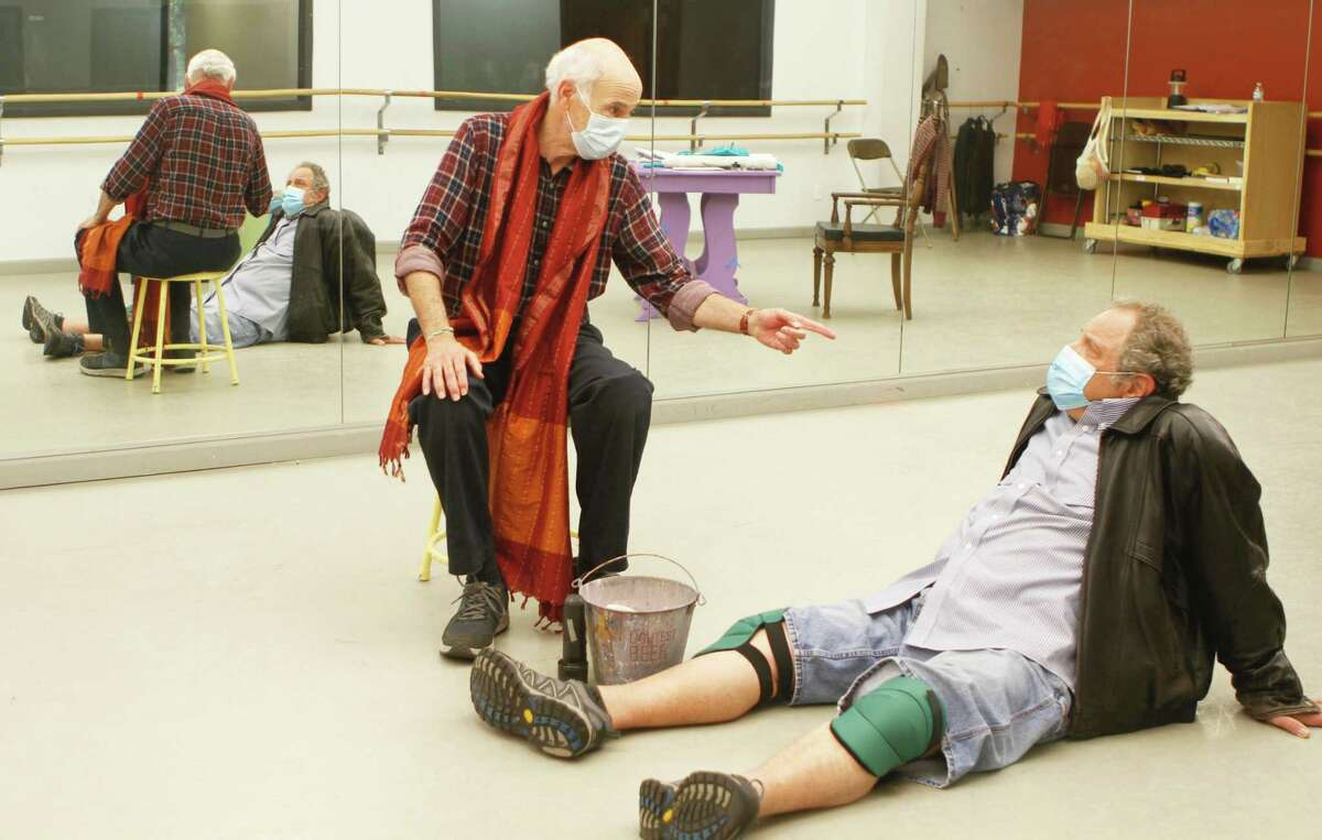 """Playhouse on Park's production of """"Two Jews Walk Into a War,"""" by Seth Rozin, runs through Oct. 10 in West Hartford. From left are actors Mitch Greenberg, who plays Ishaq, and Bob Ari as Zeblyan."""