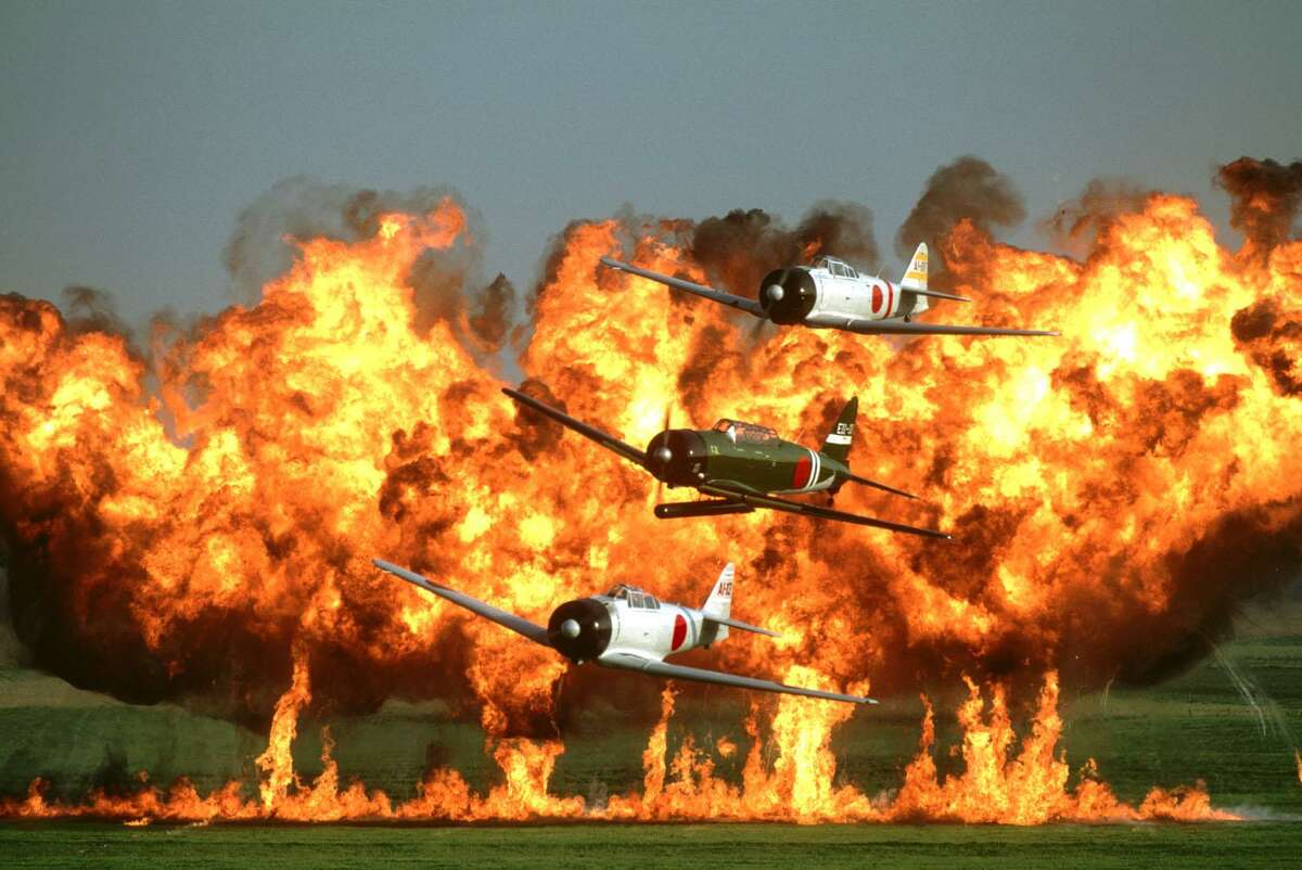 """The """"Tora! Tora! Tora!"""" flight show depicts the Japanese attack on Pearl Harbor."""