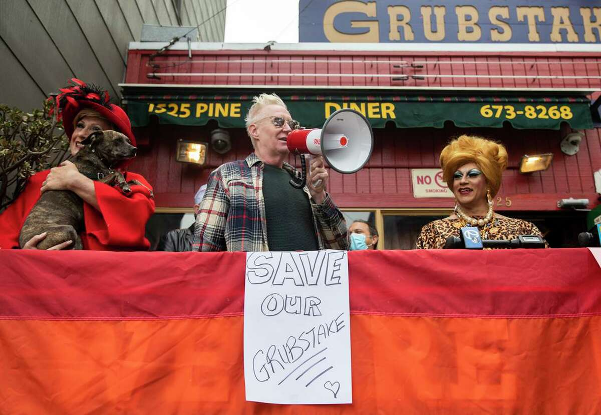 (From left) Donna Sachet, Sister Roma of the Sisters of Perpetual Indulgence and Juanita More speak to the crowd during a rally outside of the Grubstake Diner on Pine Street in San Francisco. Supporters and regulars of the historic Grubstake Diner are protesting against an appeal of a project they're backing to remodel the crumbling diner and building housing on top of it.