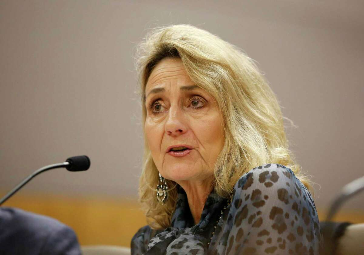 Marybel Batjer, president of the California Public Utilities Commission, appears before a state Senate committee in Sacramento. She announced on Tuesday that she is stepping down from the post.
