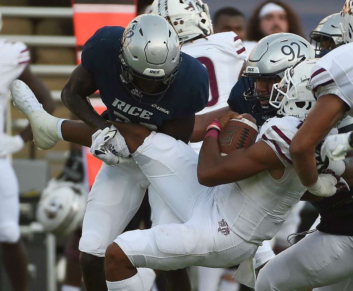 Rice's defense, sacking TSU quarterback Andrew Body, is developing a reputation as a hard-hitting bunch.