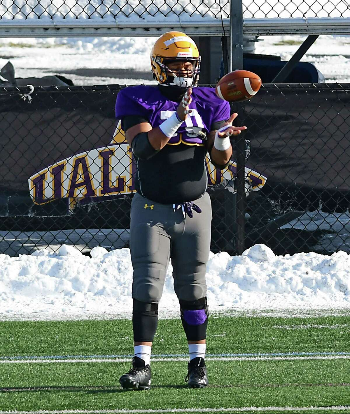 University at Albany offensive lineman Kobe Thomas, shown during a practice last February, said the bye week came at a good time for the Great Danes. (Lori Van Buren/Times Union)