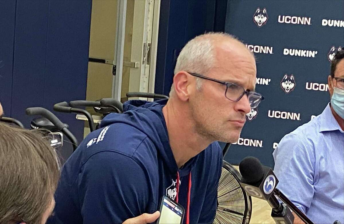 UConn men's basketball coach Dan Hurley meets with the media after the team's first practice on Sept. 28, 2021 in Storrs, Conn.