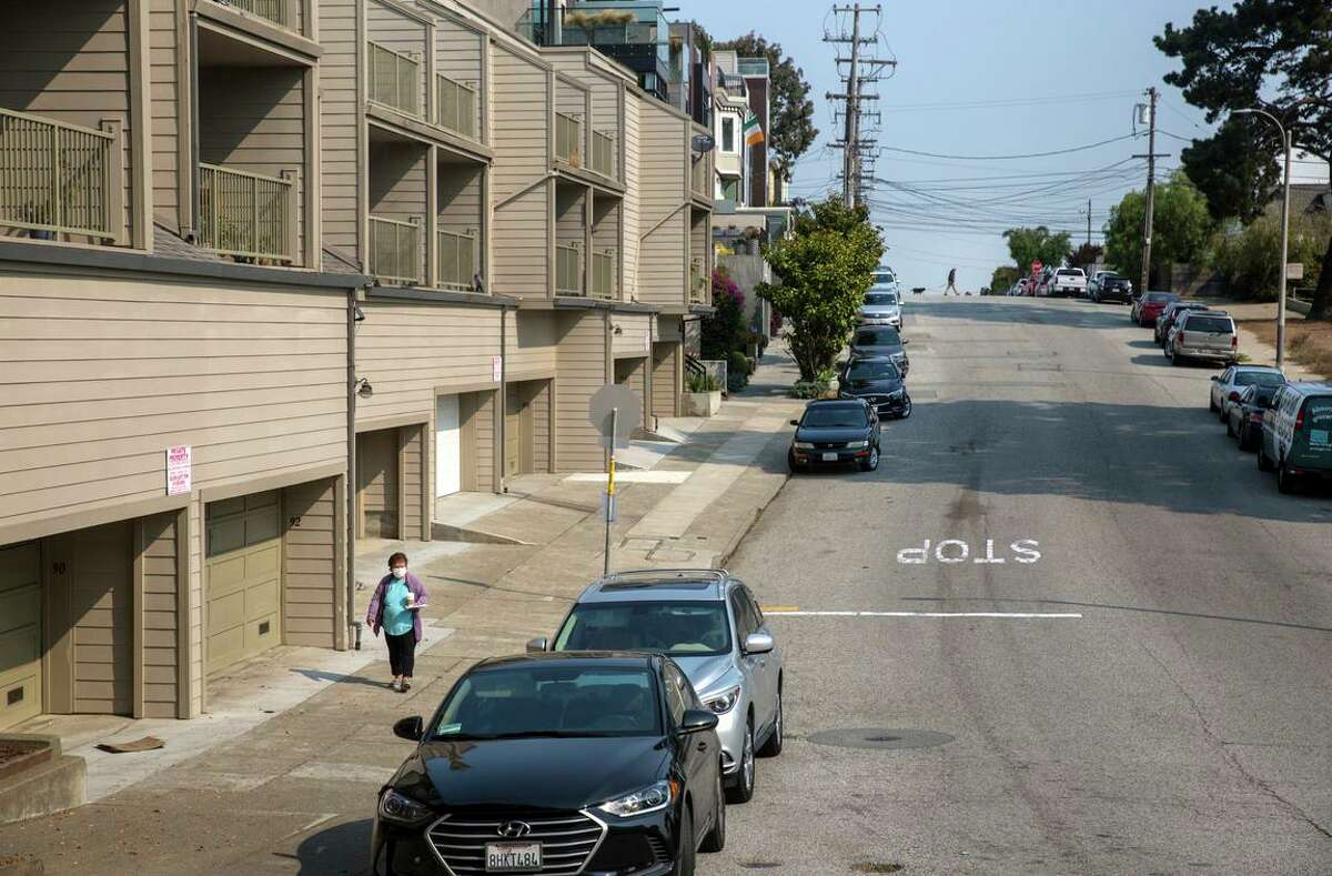 A view of the Diamond Heights neighborhood in San Francisco, 7on Aug. 27, 2021. A controversial proposal in the Diamond Heights neighborhood seeks to build about 30 high-end homes on the hillside next to the affordable housing units.
