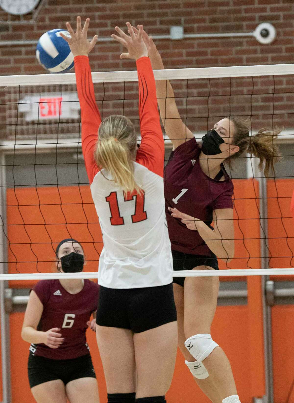 Burnt Hills' Carlie Rzeszotarski, right, hits the ball past Bethlehem's Maren Louridas, #17, during a volleyball match on Tuesday, Sept. 28, 2021 in Delmar, N.Y.