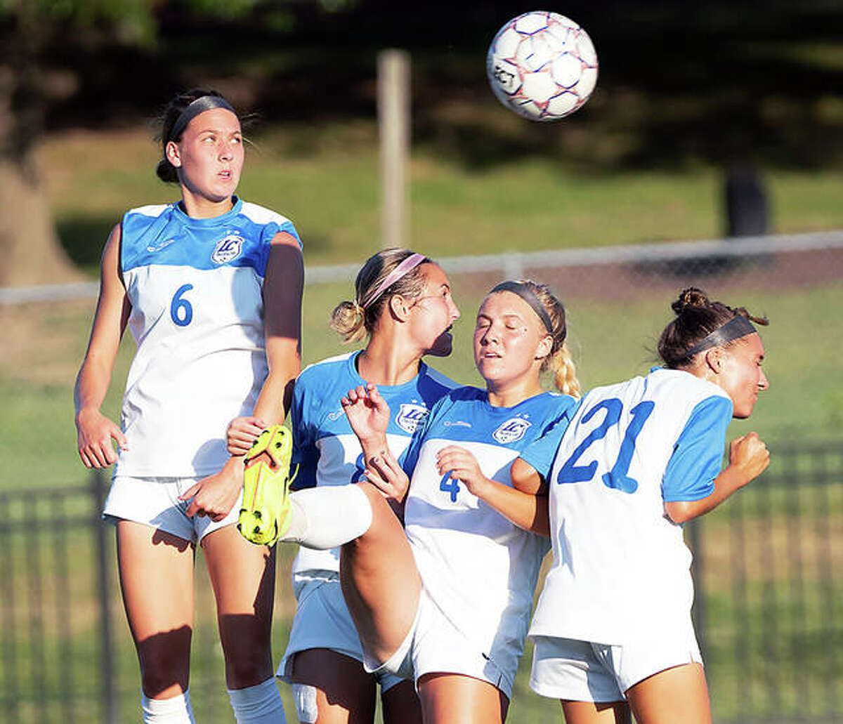 Lewis and Clark Community College players in a defensive wall react to an Illinois Central free kick during Tuesday's Region 24 showdown at Tim Rooney Stadium. LCCC won 2-1. The teams will play again at 1 p.m. Saturday in East Peoria.