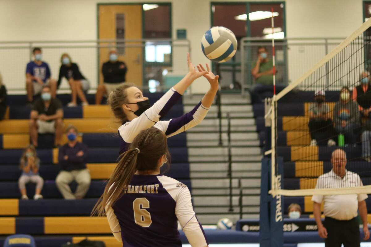 Presley Bartley sets the ball over against Onekama on Sept. 28.