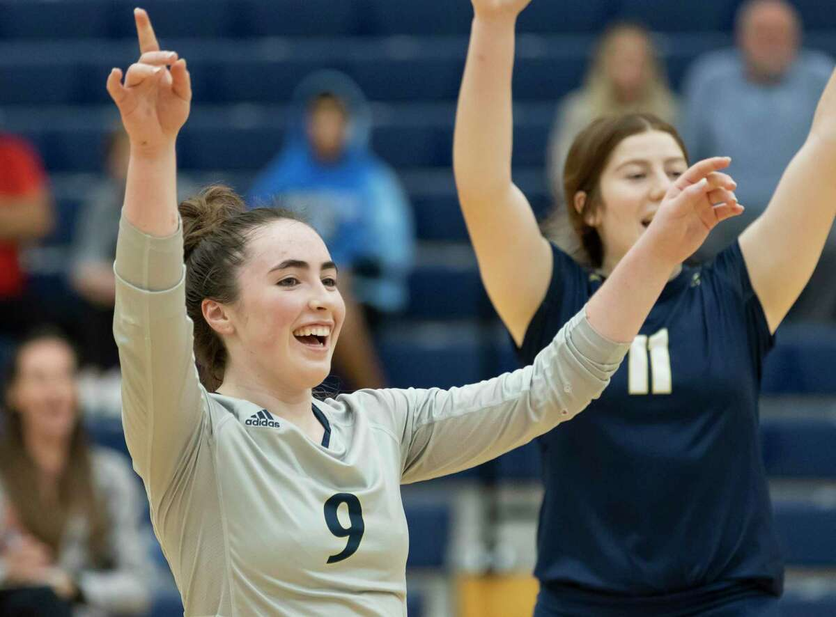 Masie Riley of Lake Creek (9) reacts after they win the third set of a District 20-5A match against Cleveland at Lake Creek High School, Tuesday, Sept. 28, 2021, in Montgomery.