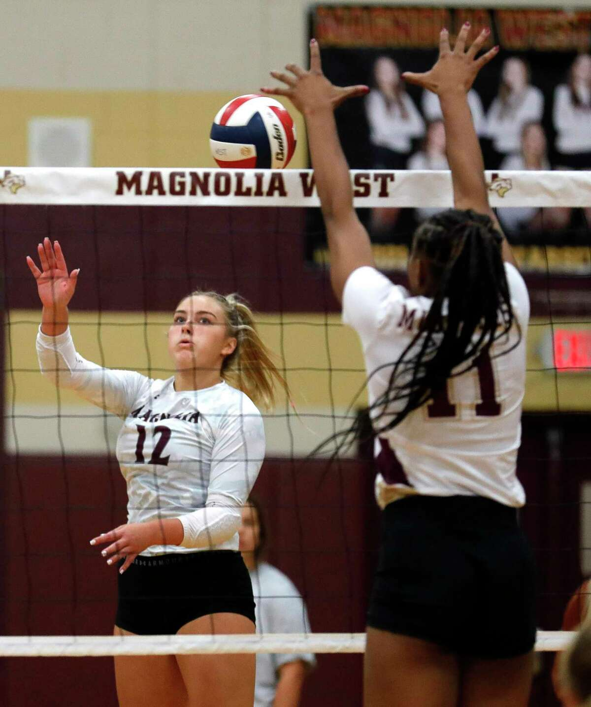 Magnolia outside hitter Sydney Gentry (12), shown here last week, had 11 kills Tuesday night at Waller.