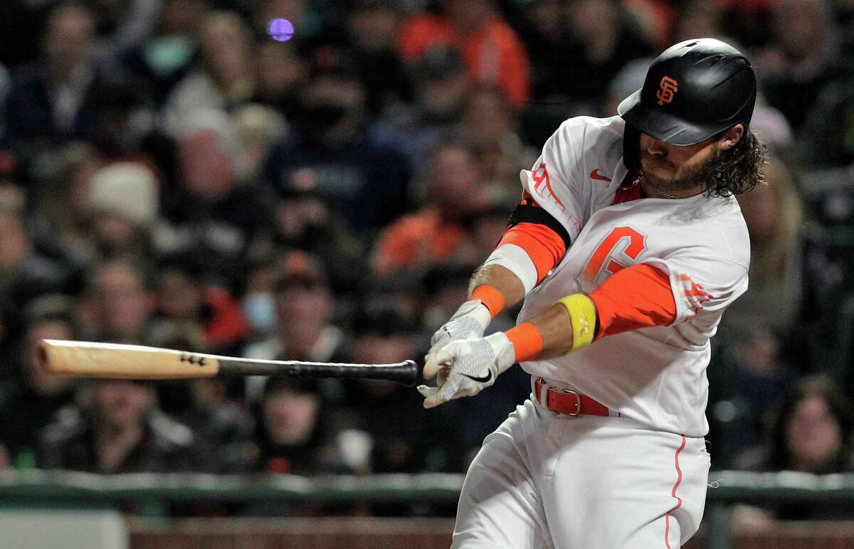 Brandon Crawford (35) strikes out swinging as he lost his grip on it in the fifth inning as the San Francisco Giants played the Arizona Diamondbacks at Oracle Park in San Francisco, Calif., on Tuesday, September 28, 2021.