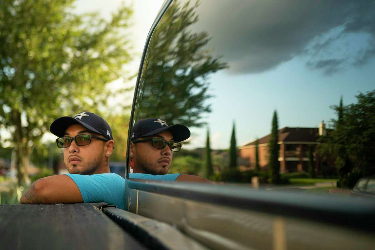 Eron Otero, who was pulled over for going two miles over the speed limit and having tinted window, outside of his home, Tuesday, July 21, 2020, in Tomball.