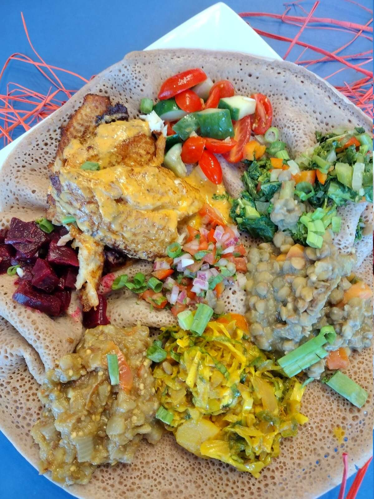 The Ethiopian platter, with spongy Ethiopian flatbread called injera, is available nightly at Umana.