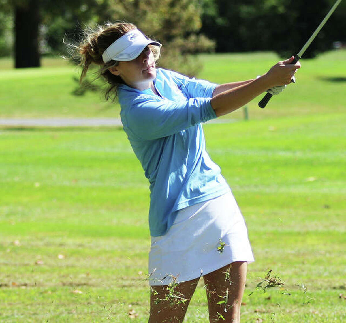 Jersey's Madi Darr, shown playing last season, earned All-MVC honors with an 87 to place seventh at the conference tourney on Monday at Belk Park in Wood River.